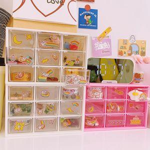 W&G New Nine-grid Storage Box Drawer Organization Transparent Cosmetic Storage Box Drawer Makeup Organizer Girl Bedroom Decor Z1123