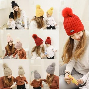 Parent-child Kids Winter Hats Baby Mom Solid Pom Pom Beanie Knitting Caps Baby Warmer Hats Girls Children Cap Hat