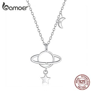 bamoer Planet with Star Interstellar Pendant Necklace for Women 925 Sterling Silver Chain Link Neckalces Fashion Jewelry SCN349 201123