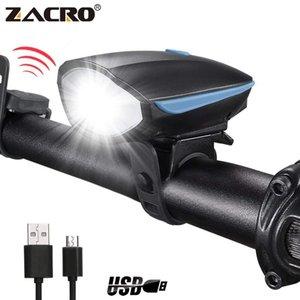 Zacro Bicycle Bell USB Flashlight Flashlight Bike Cuerno Faro Linterna Ciclismo Multifunción Ultra Brillante eléctrico 120dB Horn Bell Y200920