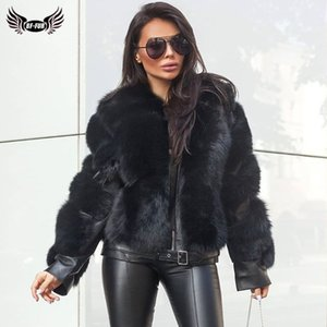 BFFUR Winter Fashion Real Fox Fur Coats For Women Locomotive Style Genuine Sheep Leather Jacket Natural Fox Fur Coat Female 2020