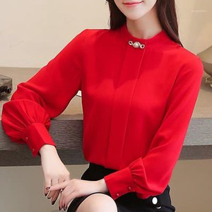 Spring Autumn New Korean Chiffon blouse Shirt White Shirts Stand Collar Long Sleeve Womens Tops and Blouses1