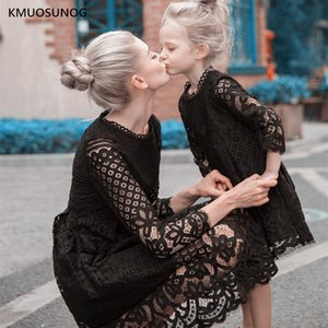 Autumn Mother Daughter Dresses 2020 Wedding Mommy and me clothes Floral Lace Mom Girl Party Dress Family Matching Casual Q1203