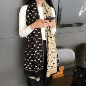 Bowknot double-sided scarf women autumn and winter imitation cashmere shawl