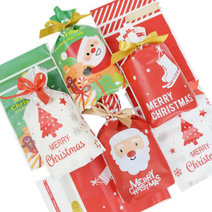 5 10pcs Merry Christmas Gift Bag With Ribbon Snack Biscuit Baking Package Santa Drawstring Candy Bags for Home New Year Present