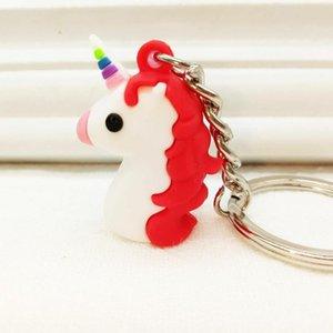 10 pcs dessin animé PVC Soft Soft Soft Plastic Sac Pendentif Série 3D Unicorn