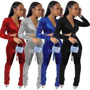 Womens Two Piece Tracksuits Designers Clothes 2020 Hot Selling Velvet High Waist Trouser Suit Evenly Pleated Pants Feet