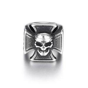 Stainless Steel Large Hole Beads Skull Predators Charms Sliders Fit 8mm Leather Bracelet Making Jewelry Diy Findings Bead sqcVeo beauty888