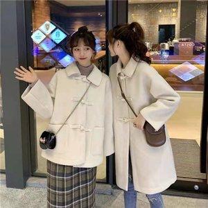 Woolen coat women's mid-length winter all-match high-end slim temperament girlfriends dress Japanese simple gentle wind jacket