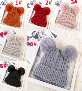 Winter Hat Men And Women New Adult Plus Velvet Double Hair Ball Head Wool Hat Warm Cute knitted Hat Tide dc868