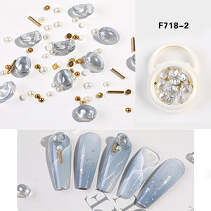 NAR001 10 Styles 1 Box Crystal Round Heart Nails Strass Rhinestone Oval DIY Nail Art Decorations Manicure Accessories