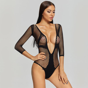 Black Sexy Women's Pantyhose Breathable Fishnet Transparent Teddy Ladies Tights Playsuit Casual Deep V Intimate Body Lingerie