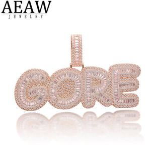 AAW Custom Hiphopjewealry Jewelry Jewelry Письмо Zircon Подвеска Сплошное 10k Белое золото или S925 Серебро около 16,5ctw
