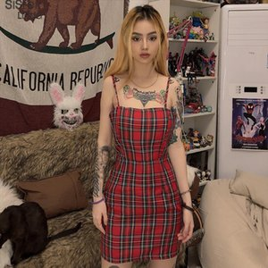 Retro Red Plaid Side Zip Bodycon Mini Dresses Women Wild Casual Party Outifit Fashion Basic Ladies Sling Vestido2020