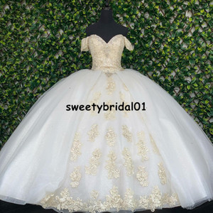 White Champagne Lace Ball Gown Quinceanera Dresses Off Shoulder Sweet 16 Dress Party Wear Bridal Boutique Princess Dress Xv Años