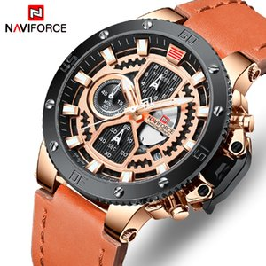 NAVIFORCE Mens Watches Top Brand Luxury Quartz Gold Watch Men Leather Military Waterproof Sport Wristwatch Relogio Masculino