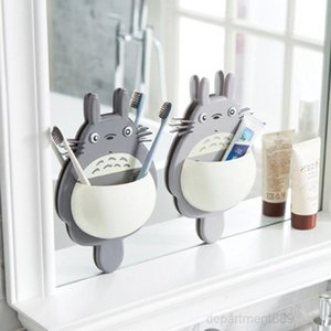 Cute Sucker Cartoon Totoro Wall Mount Hanging Suction Toothbrush Holder Storage Box Bathroom Supplies OWD2727