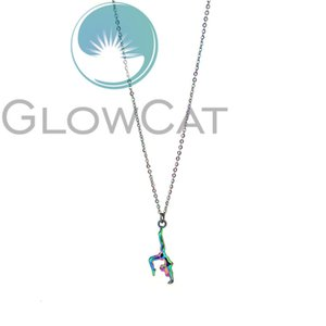 Gymnastics Rainbow Colors Female Gym Sport Gymnast Pendant 20'' Stainless Chains Necklace Women Girl Gift HXTE