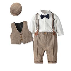 잉글랜드 아기 소년 성능 의상 어린이 + 활 착실히 보내다 모직 양복 조끼 긴 소매 옷을 빌려 + 모자 3PCS 어린이 첫번째 생일 세트 A5102