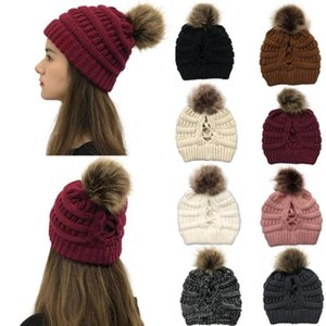 Simple Vintage Knitted Winter Hats For Women Solid Color Warm Skullies Beanie Soft Cross Big Highball Stripe High Bun