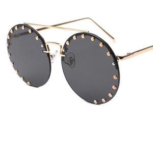 Alloy Rivet Round Gradient Sun Glasses Women 2020 Designer Oversized Sunglasses UV400 For Ladies Rimless Vintage Shades Mirror