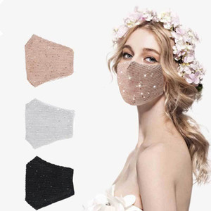 Sequins Fashion Ice Silk Bling 3D Washable Reusable Mask PM2.5 Face Care Shield Sun Color Gold Elbow Shiny Face Cover Masks Mouth
