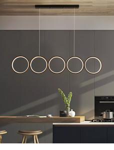 Dining Room LED Chandelier Round Rings Coffee Shop Bar Modern Nordic Simple Hanging Light Restaurant Long Black Art Pendant Lamp