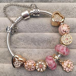 Braccialetto di fascino di fascino caldo Donne Donne Smalto Smalto Smalto Branelli colorati Braccialetto per perline per i gioielli Pandora Ragazze Regalo dei bambini