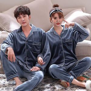 FZSLCYIYI Korean Matching Velvet Paar Pyjamas Set Adult Liebhaber Velour Nachtwäsche Pyjamas Kleidung Winter-nette Paar Pyjamas