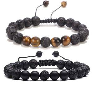 New 8mm Turquoise Volcanic Stone Hand Chain Energy Yoga Beads Pine Stone Tiger Eye Hand String