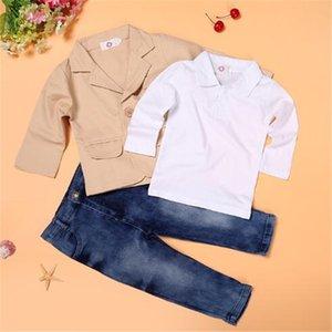 Spring Autumn Boys 3pcs Suit Gentleman Suit T-shirt Jackets Jeans Baby Boys Clothes For Kids Designer Childrens Clothing Set