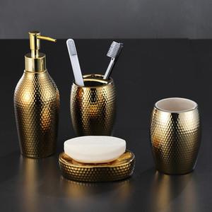 Golden ceramica attrezzi da bagno set da bagno set da bagno doccia gel bottiglia sapone scatola da denti spazzolini spazzolatura tazza di spazzolamento accessori doccia