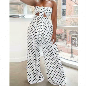 2PCS Women Polka Dot Outfits Jumpsuits Wrap Chest Crop Tops Wide Leg Long Pants Casual Summer Beach Jumpsuit Romper