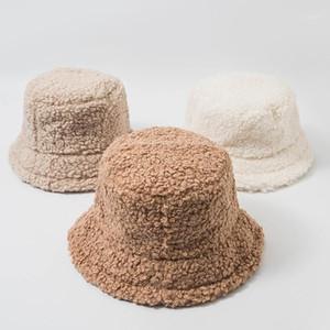 Wide Brim Hats 2021 For Women Autumn Winter Bucket Lamb Plush Soft Warm Fisherman Hat Panama Casual Caps Lady Flat Korean Style1