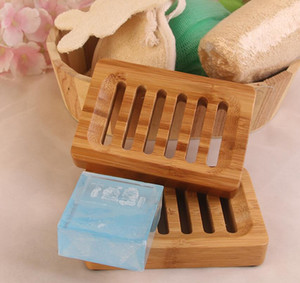 Soap Holder Wooden Natural Bamboo Brath Dish Rack Dishes Tray Holder Storage Soap Rack Plate Box Portable Bathroom Soap Boxes HWC3794