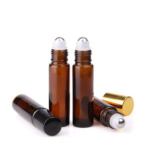 600pcs lot 10ml Empty Amber Glass Essential oil Roll On Bottle Vials With Black Gold Cap For perfume aromatherapy