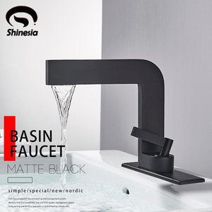 Shinesia Matte Black Basin Bathroom Faucet Vessel Sink Deck Mounted Nordic fFashion Hot & Cold Water Mixer Tap