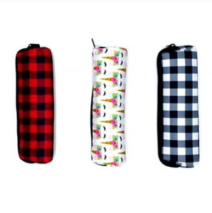 Pencil Cases Large Capacity Neoprene Pen Bags Black White Red Plaid Storage Pouch Student Lovely School Supplies AHC3882
