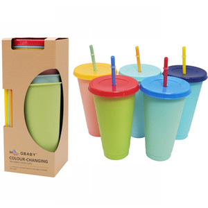 2021 24 унций Изменение цвета Tumblers пластиковых питьевых соков Кубок с губой и соломой волшебной кофе кружка
