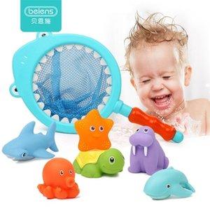 Beiens 7 pcs crianças praia crianças macias borracha animais jogar brinquedos para banho bebê chuveiro tubarão 201216
