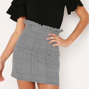 Summer Women Stretch High Waist Plaid Striped Short Skirt Ladies Elegant Mini Skirts Casual Back Zipper Skirt Female