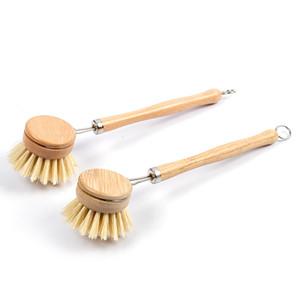 Doğal Ahşap Uzun Kolu Pan Pot Fırça Çanak Kase Yıkama Temizleme Fırçası Yedek Fırça Kafaları Ev Mutfak Cleani 114 J2