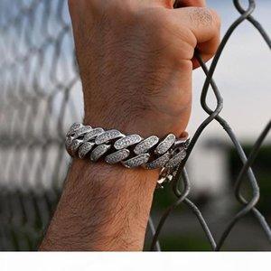 2020 New arrived women Hip hop Cuban Miami Link Chain Bracelets for lady men Hip Hop Rhinestone cz Pave Bracelets Rock Jewelry