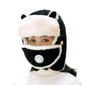 Winter Style With Fleece Scarf Mask Cap Thickened Thermal Lei Feng Cap Men And Women Outdoor Cotton Trapper Hats Men Bomber Hat