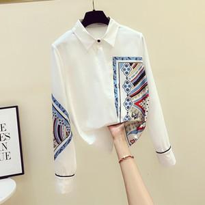 2021 Autumn Women's Turn Down Collar Long Sleeves Retro Print Shirts Female Shirt Blouse Tops A3512