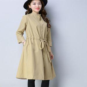 QPIPSD корейская версия весны длинный абзац ветровка женского пола 2020 весенний дикий воротник пальто куртка и осень