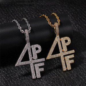 Mens Gold Silver Plated Necklace Iced Out Diamond 4PF Pendant ChainsLab Letter Number Stainless Steel Hip Hop Bling Chains Jewelry
