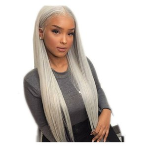 Long Straight 13x4 Lace Front Synthetic Wig for Black Women Heat Resistant Gray Cosplay Wigs