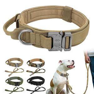 Dauerhafter taktischer Hundekragen einstellbar Nylon Militär Hundehalsband Leine für mittlere große Hunde K9 Deutsches Schäferhund Training SQCGLA