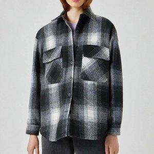 Kumsvag Femmes Automne Vintage Vestes Loose Manteaux 2021 Poches à manches longues Plaid Fashion Street Femme Veste Outerwear 9920